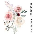 watercolor flowers. floral... | Shutterstock . vector #1085494934