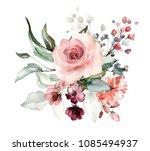 watercolor flowers. floral... | Shutterstock . vector #1085494937