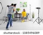 young beautiful model posing in ... | Shutterstock . vector #1085496089