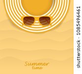 summer striped hat and yellow... | Shutterstock .eps vector #1085496461
