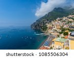 view of beach and town of ... | Shutterstock . vector #1085506304