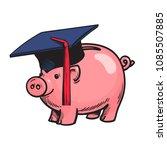 piggy bank in graduation hat.... | Shutterstock .eps vector #1085507885