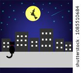black cat and witch flying on... | Shutterstock .eps vector #1085510684