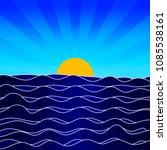 cartoon sunrise seascape with...   Shutterstock .eps vector #1085538161