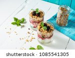 healthy layered dessert with... | Shutterstock . vector #1085541305