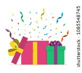 two gift boxes with confetti.... | Shutterstock .eps vector #1085548745