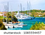 landscape with luxury yachts in ... | Shutterstock . vector #1085554457