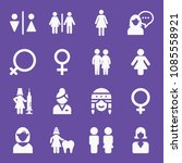 filled set of 16 woman icons... | Shutterstock .eps vector #1085558921