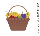 wicker basket with fruits and... | Shutterstock .eps vector #1085561435