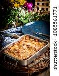 homemade lasagne bolognese in... | Shutterstock . vector #1085561771