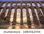 the aqueduct of segovia  spain  ... | Shutterstock . vector #1085562554