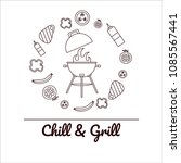 chill and grill bbq party.... | Shutterstock .eps vector #1085567441