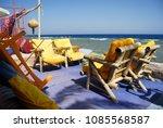 dahab beach restaurant chairs...   Shutterstock . vector #1085568587