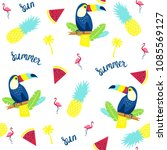 seamless pattern with cute... | Shutterstock .eps vector #1085569127