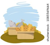 baskets with fish and bread | Shutterstock .eps vector #1085569664