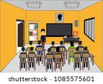class interior view vector... | Shutterstock .eps vector #1085575601