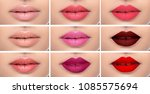 set or collage female lips with ... | Shutterstock . vector #1085575694