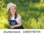 toddler girl on countryside | Shutterstock . vector #1085578754