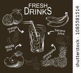 set of refreshing fruit drinks | Shutterstock .eps vector #1085581514