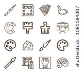 art related set of 16 icons... | Shutterstock .eps vector #1085584307