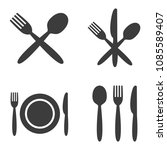 plate  fork  spoon and knife...   Shutterstock .eps vector #1085589407