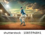 baseball player in dynamic... | Shutterstock . vector #1085596841