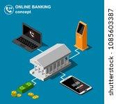 isometric online banking... | Shutterstock .eps vector #1085603387