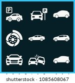 set of 9 cars filled icons such ... | Shutterstock .eps vector #1085608067