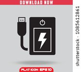 power bank. fast charge. black. ... | Shutterstock .eps vector #1085612861