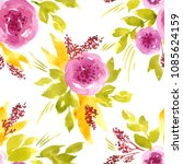 seamless watercolor floral... | Shutterstock . vector #1085624159