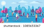 people with bikecycles in the... | Shutterstock .eps vector #1085653367