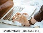 hand of office man touching... | Shutterstock . vector #1085663111