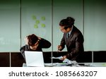 the boss is angry and scolding... | Shutterstock . vector #1085663207