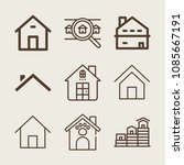 set of 9 house outline icons... | Shutterstock .eps vector #1085667191