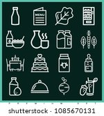 Set Of 16 Food Outline Icons...