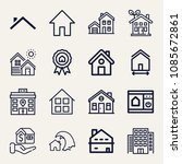 set of 16 home outline icons... | Shutterstock .eps vector #1085672861