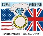royal british american wedding... | Shutterstock .eps vector #1085672945