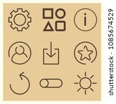 set of 9 circle outline icons...   Shutterstock .eps vector #1085674529