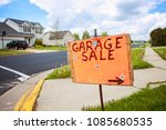 garage sale sign on the lawn of ... | Shutterstock . vector #1085680535
