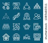 set of 16 group outline icons... | Shutterstock .eps vector #1085683511