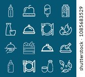 set of 16 food outline icons... | Shutterstock .eps vector #1085683529