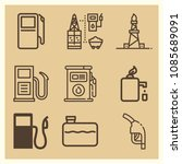 set of 9 gasoline outline icons ... | Shutterstock .eps vector #1085689091