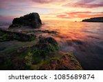 beautiful summer landscape with ...   Shutterstock . vector #1085689874
