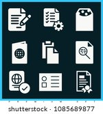 set of 9 document filled icons... | Shutterstock .eps vector #1085689877
