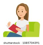 a long hair young woman is... | Shutterstock .eps vector #1085704391