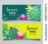 vector banners summer tropical... | Shutterstock .eps vector #1085704871