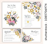 vector set of invitation cards... | Shutterstock .eps vector #1085706974