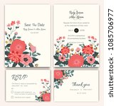 vector set of invitation cards... | Shutterstock .eps vector #1085706977