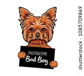 yorkshire terrier dog bad boy.... | Shutterstock .eps vector #1085709869