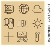 set of 9 web outline icons such ... | Shutterstock .eps vector #1085710145